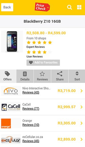 Pricecheck MTN Offers page