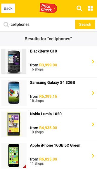 Pricecheck MTN Search page