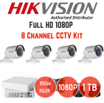 Hikvision 1080P 8 Channel 4 Camera Turbo HD Cctv Kit 4TB Hard Drive