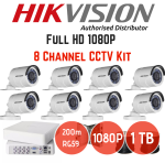Hikvision 1080P 8 Channel Turbo HD Cctv Kit + 1TB Hard Drive