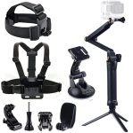 Smatree 9-IN-1 Go Pro Accessories Kit With 3 Way Adjustable Tripod Pole For Gopro HD Hero 7 6 5 4 3+ 3 Camera