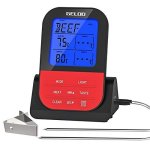 Geloo Instant Read Meat Thermometer Wireless Digital Cooking Meat Thermometer For Smoker Oven Kitchen Bbq Grill Thermometer Cloc