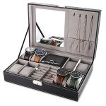 GreenDream Isincere 6 Slot Watch Display Case Pu Leather Jewelry Storage Box Organizer
