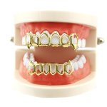 Coohole 2018 Cool Fashion Removable Hip Hop Teeth Grillz For Mouth Top Bottom Mouth Teeth Grills 1PC Gold