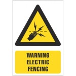 Warning Of Electric Fencing Safety Sign With Description