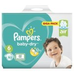 Pampers Baby Nappies Baby-Dry 92 Nappies Size 6 Giga Pack