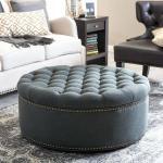 Introducing....kelvin Round Ottoman - 800X450 Dark Grey Upholstery Linen