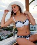 Thursdays Urban Zebra Classic 40C-38D-36DD-34E-32F Bikini Top in Plain-White