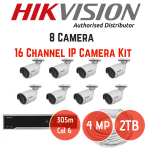 Hikvision 4MP Ip 16 Ch 8 Cam Kit No Hard Drive