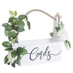 Ling's Moment Rustic Wooden Card Box Diy Floral Basket Shape For Wedding Bridal Shower Baby Shower Graduation Party