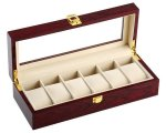 Override Elegant Cherry Wood 6 Grid Watch Display Collection Case Jewelry Storage Organizer