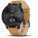 Garmin Vivomove HR Premium in Onyx Black Stainless Steel Case with Tan Suede Band