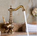 Brass TBT003 Carved Antique Bathroom Kitchen Mixer