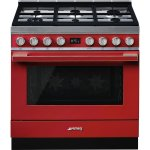 Smeg 90CM Cooker With 6 Burner Gas Hob Red Portofino CPF9GMR