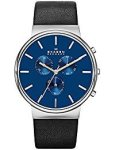 Skagen Shipping In Stock Men's SKW6105 Ancher Stainless Steel Watch With Black Leather Band By