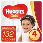 Huggies Gold 132 Nappies Size 4 Giga Bag