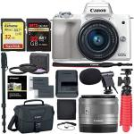 Canon Eos M50 Mirrorless Camera With 15-45MM Lens White With Accessory Bundle