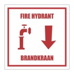 Fire Hydrant With Description & Direction Down Safety Sign