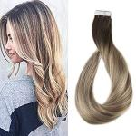 Full Shine 14 Inch Tape In Hair Extensions Human Hair Ombre Balayage Hair Color Dark Brown Roots Color 3 Fading To 8 And 22