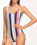Striped Backless One-piece Swimsuit