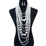 SP Sophia Collection 1920S Multi Layer Simulated Great Gatsby Bridal Pearl Necklace Strands And Earring Set In White