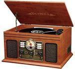 Victrola Nostalgic Classic Wood 6-IN-1 Bluetooth Turntable Entertainment Center Mahogany