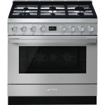 Smeg 90CM Cooker With 6 Burner Gas Hob Stainless Steel Portofino CPF9GMX