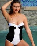 Thursdays Urban Zebra 32BC One-Piece Swimsuit in Black-White