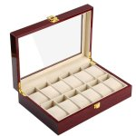 Override Elegant Cherry Wood 12 Grid Watch Display Collection Case Jewelry Storage Organizer