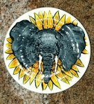 African Elephant & Sunflower African Grater Plate