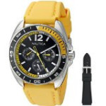 Discountwatches_SA Nautica Men's Nad11522g Nautica Sport Ring Gift Set Analog Display Quartz Yellow Watch Parallel Import