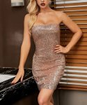 Sequin Form Fitting Strapless Dress
