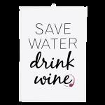 Dishy Designs Water Save Drink Wine Tea Towel
