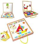 42 Pieces Colorful Wooden Magnetic Puzzle Blocks