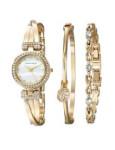 Anne Klein AK 1868GBST Women's Swarovski Crystal-Accented Gold-Tone Bangle Watch and Bracelet Set